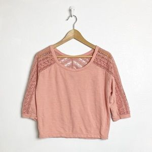 American Eagle pink crochet lace top